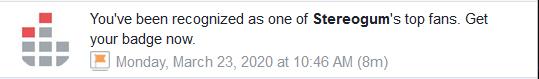 facebook notification stereogum top fan