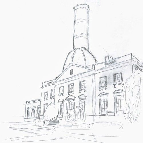 English country house with industrial chimney