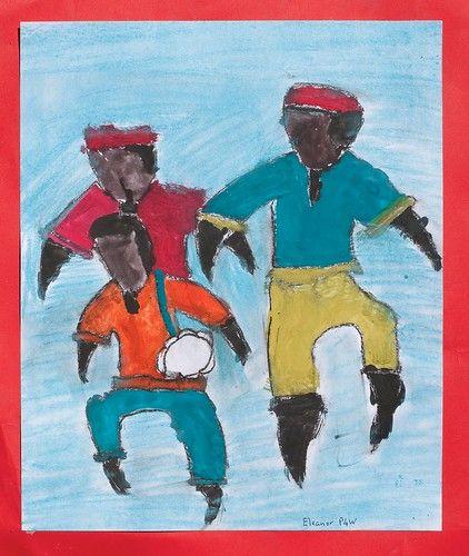 Three men dancing