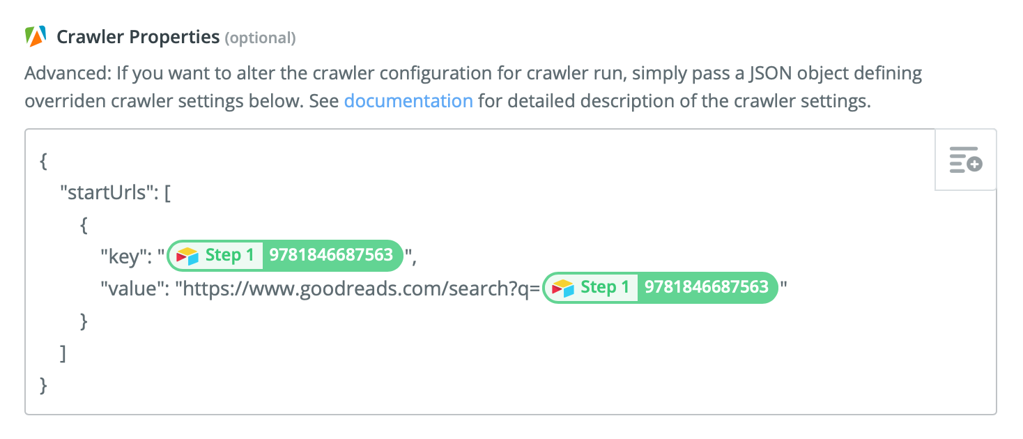 Setting the Start URLs of our Apify crawler in Zapier