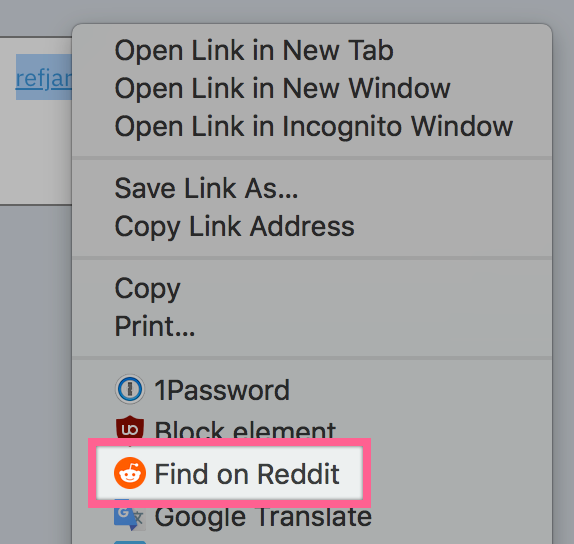 Find on Reddit in the Chrome context menu