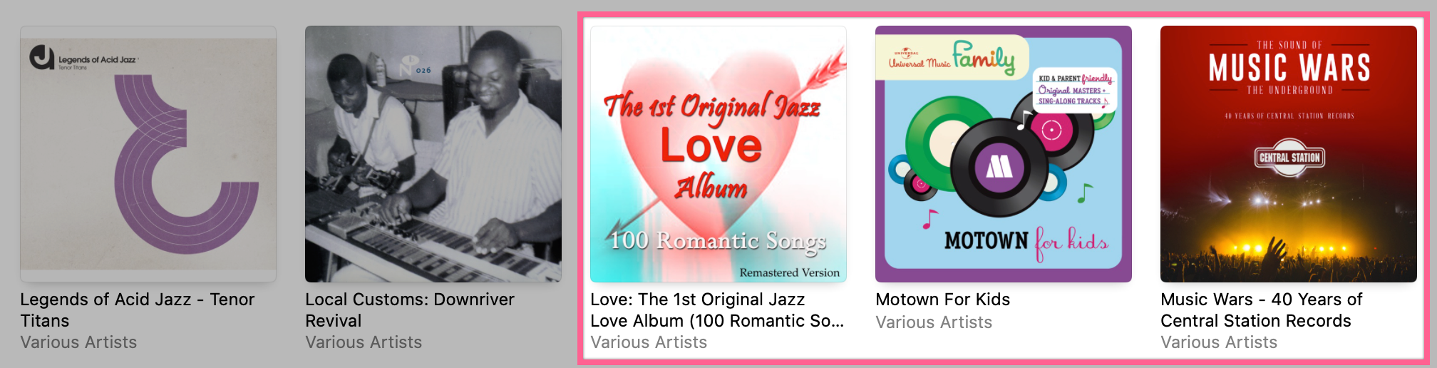 Just a few of the compilation albums I have in my library instead of the originals