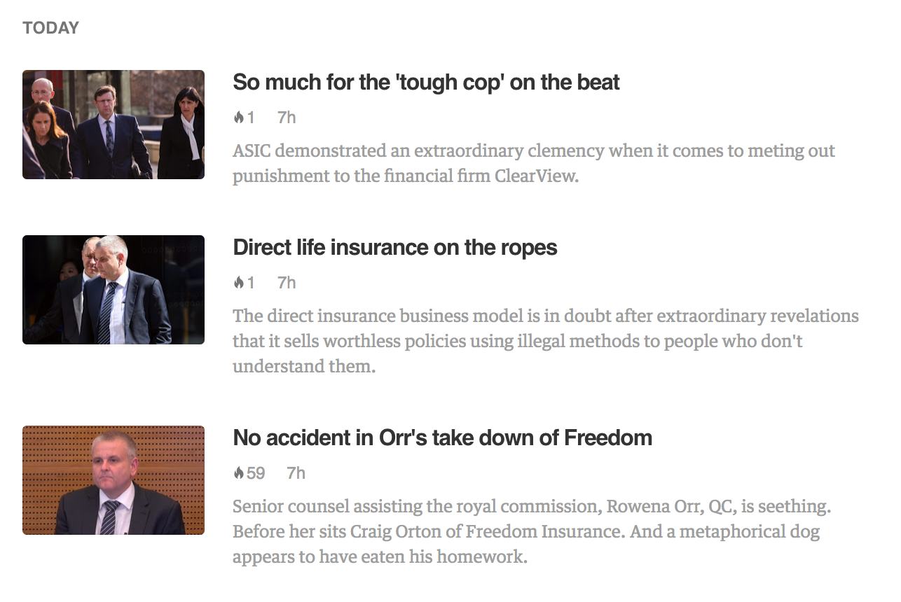 New items from the RSS feed appearing in Feedly