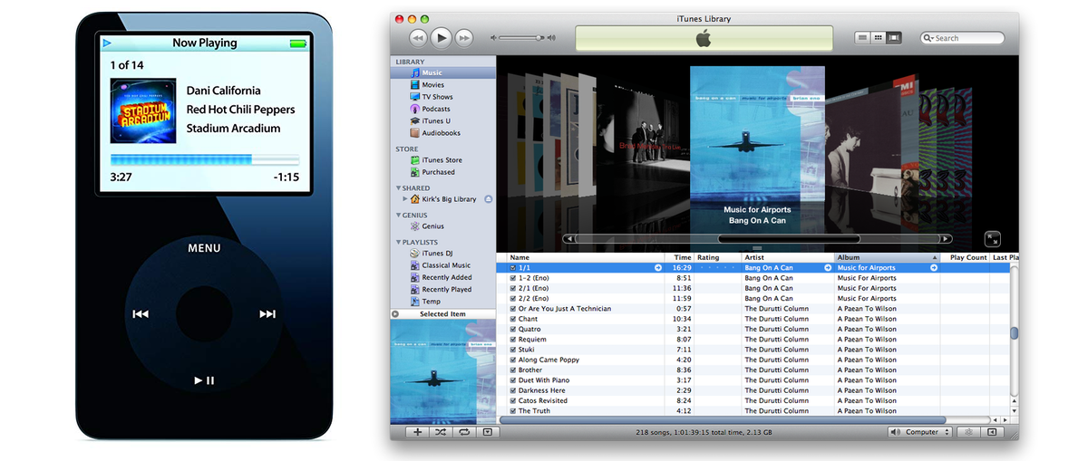 Pictures of things that helped my teenage self obsess over my music collection. The iPod is a stock photo, but this is a pretty accurate portrayal of my iPodРђЎs screen in the year after that album was released. Image credit: MacWorld