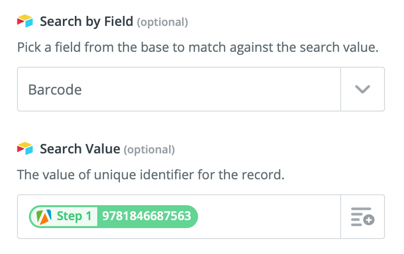 Setting the search criteria so Zapier can find the right Airtable record to update